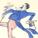 The caricaturist SEM depicted James striding from New York to Paris, where he lived for forty years after the Hyde Ball. James never returned to the United States until Germans took over Paris in World War II.