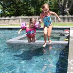 First cousins, Camille Beard and Stella Schafer, taking the big leap.