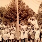 """Patsy"" age four raising the flag in Maine."