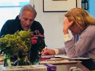 Peter Duchin and Patricia Beard at work in the fall of 2020, after Peter was released from the hospital after suffering a near-fatal case of Covid-19
